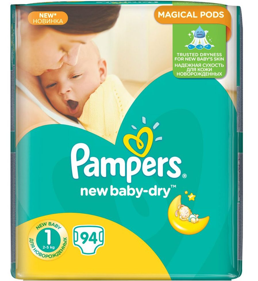 Pampers New Baby Dry 1 (2-5 кг) 94 шт